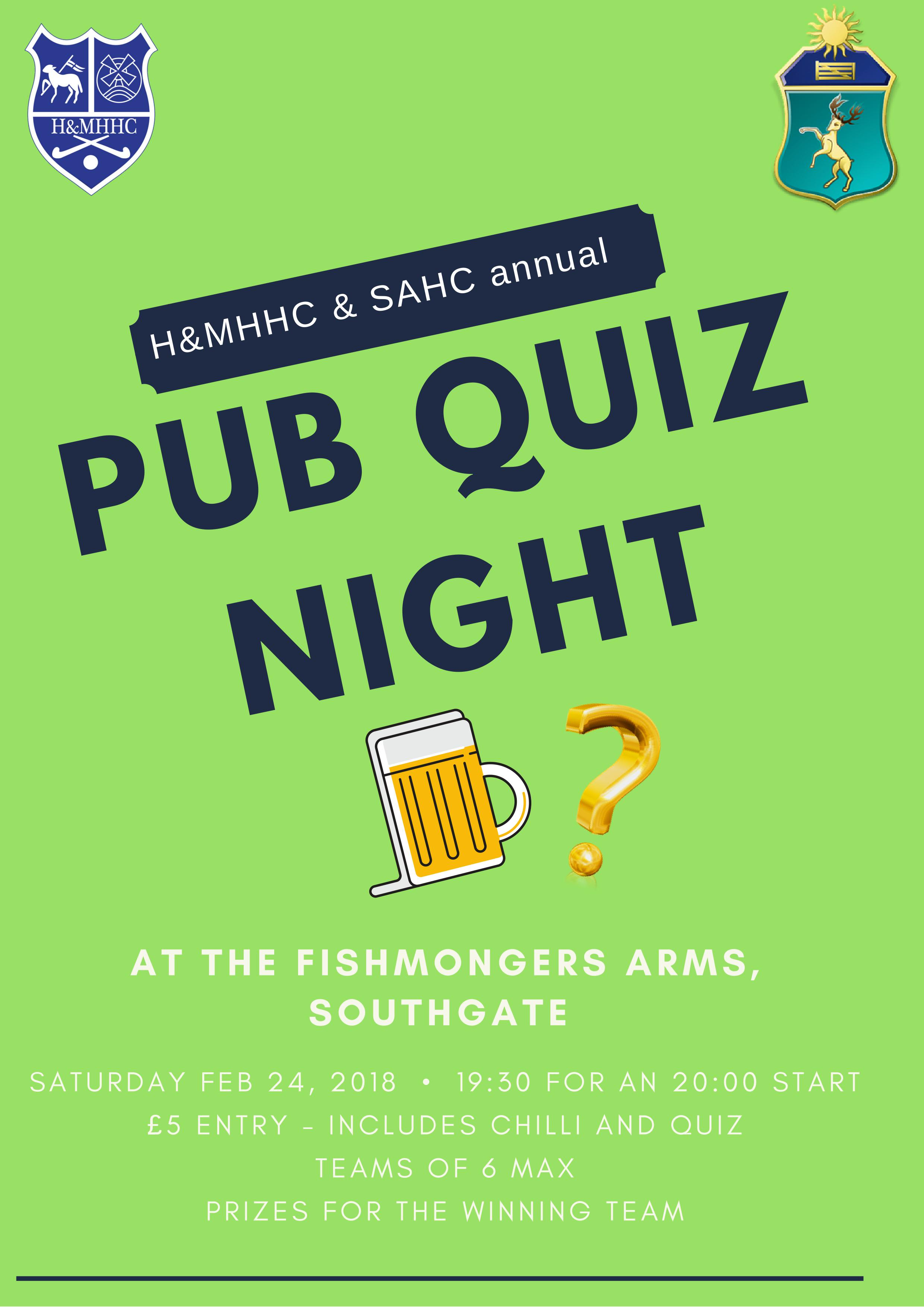 Quiz Night at the Fishmongers Arms - 24th Feb